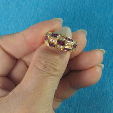 Load image into Gallery viewer, 18k Solid Yellow Gold Genuine Diamonds, Natural Red Square Ruby Band Ring