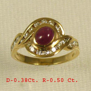 14k Yellow Gold Genuine Diamonds, Natural Red Cabochon Ruby Cocktail Ring