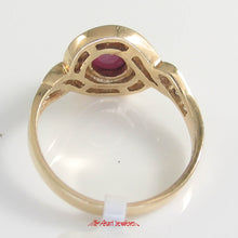 Load image into Gallery viewer, 14k Yellow Gold Genuine Diamonds, Natural Red Cabochon Ruby Cocktail Ring
