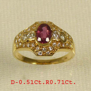 14k Yellow Solid Gold Genuine Diamonds, Natural Red Oval Ruby Cocktail Ring