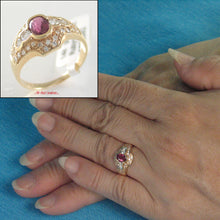 Load image into Gallery viewer, 14k Yellow Solid Gold Genuine Diamonds, Natural Red Oval Ruby Cocktail Ring
