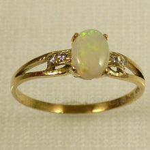 Load image into Gallery viewer, 14k Yellow Gold Genuine Diamonds, Cabochon Opal Solitaire with Accents Ring