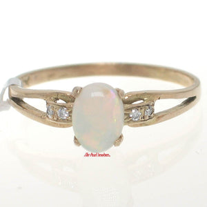 14k Yellow Gold Genuine Diamonds, Cabochon Opal Solitaire with Accents Ring