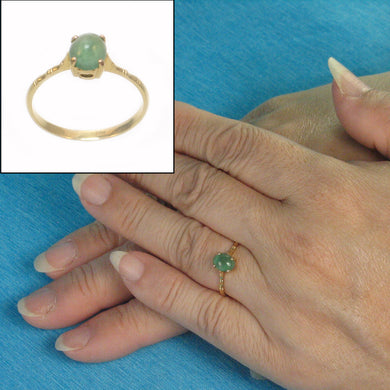 14k Yellow Solid Gold Genuine Natural Green Oval Emerald Solitaire Ring