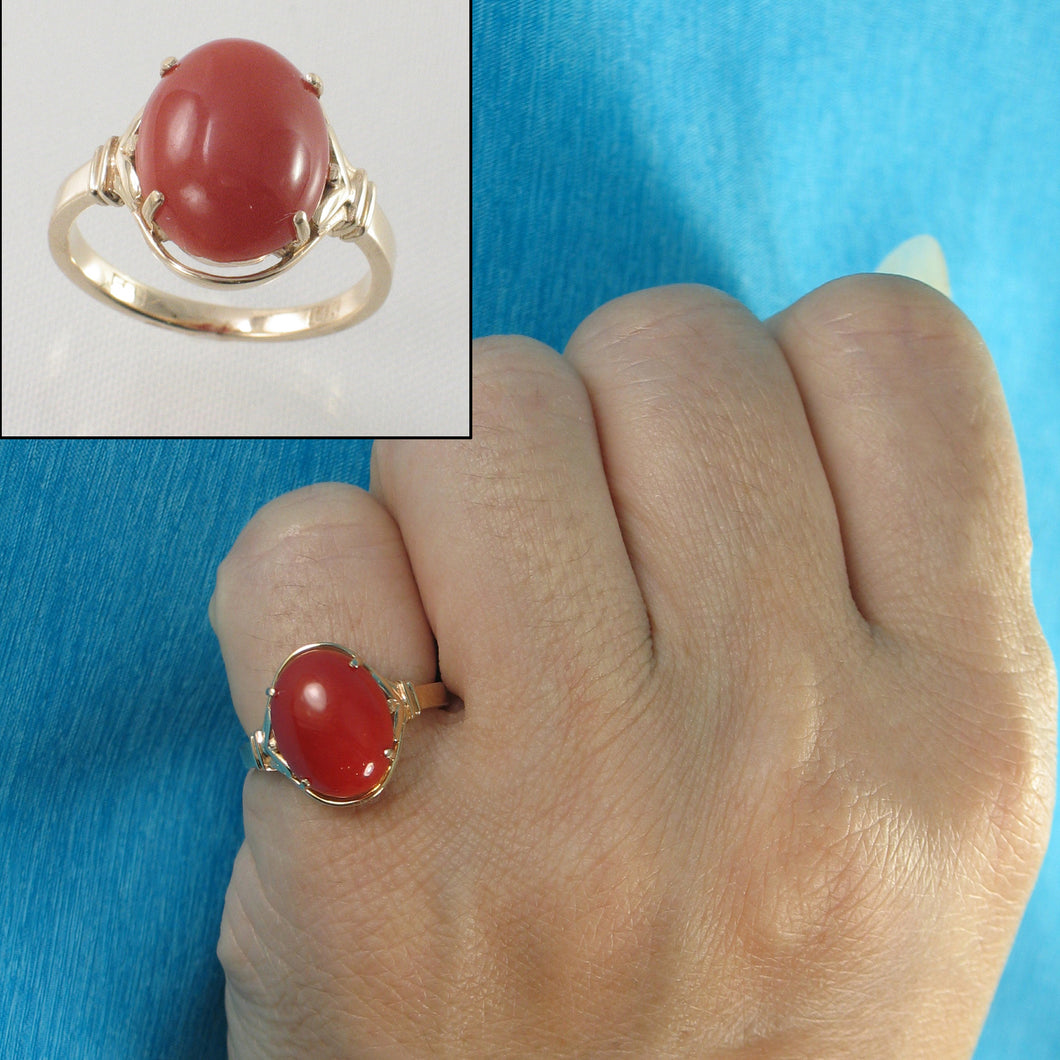 Beautiful & Unique Genuine & Natural Red Coral 14K Solid Yellow Gold Ornate Ring