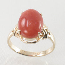 Load image into Gallery viewer, 14K Solid Yellow Gold Beautiful & Unique Genuine & Natural Red Coral Ornate Ring