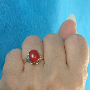 14K Solid Yellow Gold Beautiful & Unique Genuine & Natural Red Coral Ornate Ring