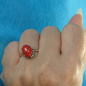 Simple Yet Elegant 14K Solid Yellow Gold Oval Shaped Natural Red Coral Ornate Ring
