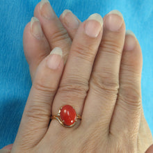Load image into Gallery viewer, Simple Yet Elegant 14K Solid Yellow Gold Oval Shaped Natural Red Coral Ornate Ring