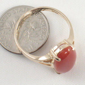 14K Solid Yellow Gold Oval Shaped Natural Red Coral Ornate Ring