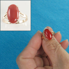 Load image into Gallery viewer, 14K Solid Yellow Gold Oval Shaped Natural Red Coral Ornate Ring