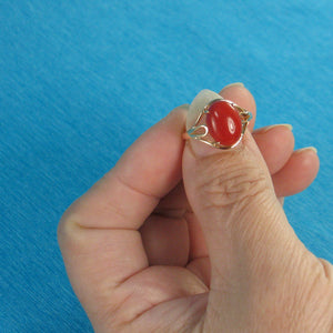 14K Solid Yellow Gold Cabochon Natural Red Coral Ornate Ring