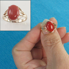 Load image into Gallery viewer, 14K Solid Yellow Gold Cabochon Natural Red Coral Ornate Ring