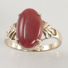 Load image into Gallery viewer, Cabochon Shaped Natural Red Coral Ornate 14K Solid Yellow Gold Ring