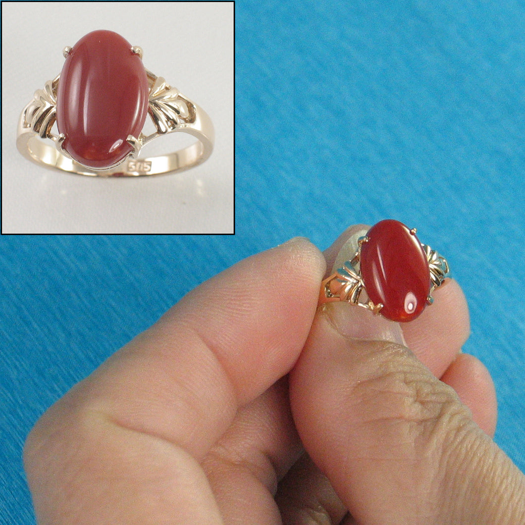 Cabochon Shaped Natural Red Coral Ornate 14K Solid Yellow Gold Ring
