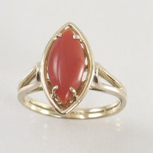 Load image into Gallery viewer, Cabochon Marquise Shaped Natural Red Coral 14K Solid Yellow Gold Ring
