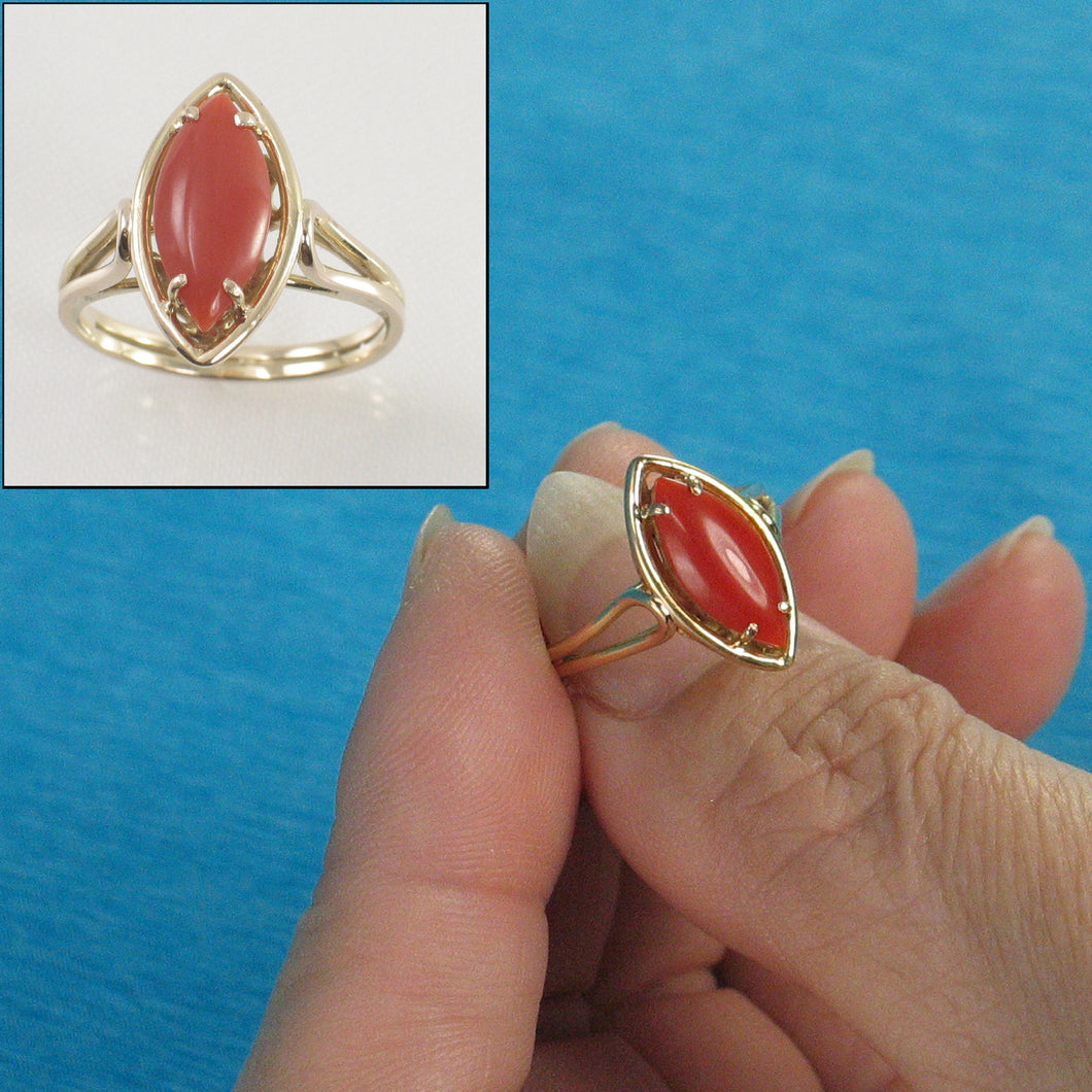 Cabochon Marquise Shaped Natural Red Coral 14K Solid Yellow Gold Ring