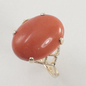 14K Solid Yellow Gold Cabochon Oval Shaped Natural Red Coral Ring