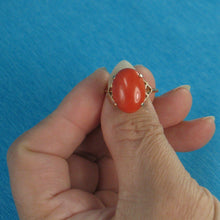Load image into Gallery viewer, 14K Solid Yellow Gold Cabochon Oval Shaped Natural Red Coral Ring