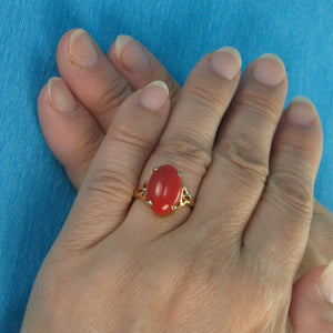 Genuine & Natural Red Coral 14K Solid Yellow Gold Ring