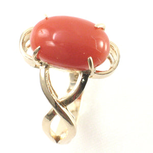 14K Solid Yellow Gold Genuine & Natural Red Coral Ring