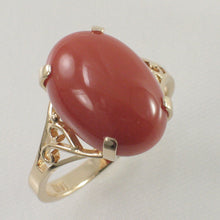 Load image into Gallery viewer, Genuine & Natural Red Coral 14K Solid Yellow Gold Ring