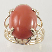 Load image into Gallery viewer, 14K Solid Gold Genuine & Natural Red Coral Ring
