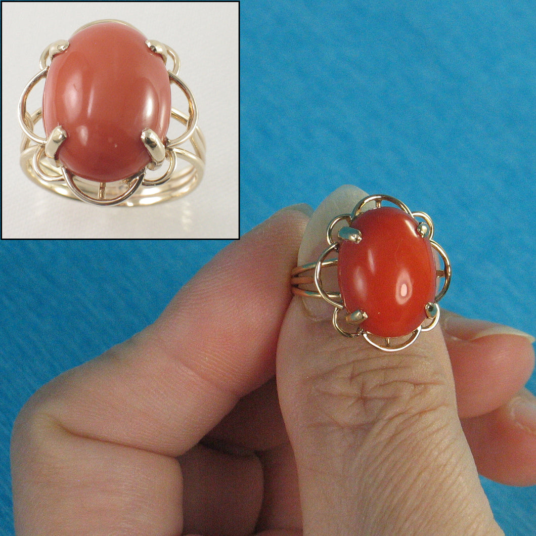 14K Solid Gold Genuine & Natural Red Coral Ring