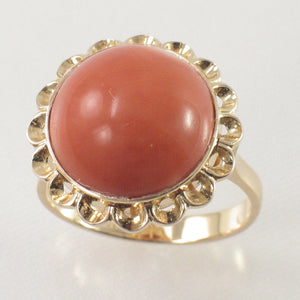 Cabochon Dome Genuine & Natural Red Coral 14K Solid Yellow Gold Ring
