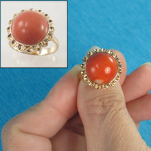Load image into Gallery viewer, Cabochon Dome Genuine & Natural Red Coral 14K Solid Yellow Gold Ring