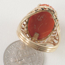 Load image into Gallery viewer, 14K Solid Yellow Gold Genuine & Natural Red Coral Ring