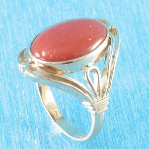 14K Solid Yellow Gold Cabochon Oval Genuine & Natural Red Coral Ring