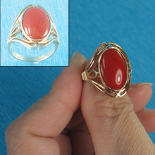 Load image into Gallery viewer, 14K Solid Yellow Gold Cabochon Oval Genuine & Natural Red Coral Ring