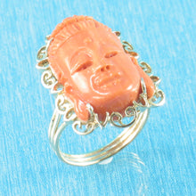 Load image into Gallery viewer, Kuan-yin Face Genuine & Natural Red Coral 14K Solid Yellow Gold Ring