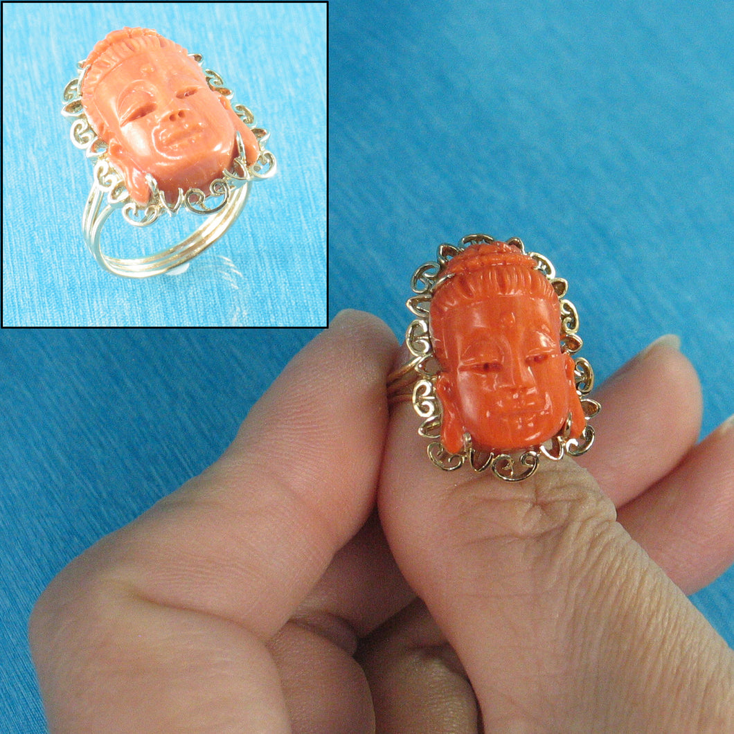 Kuan-yin Face Genuine & Natural Red Coral 14K Solid Yellow Gold Ring