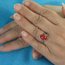 Load image into Gallery viewer, 14K Solid White Gold Genuine & Natural Red Coral Ring