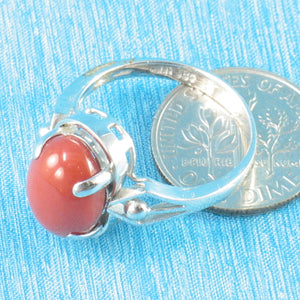 14K Solid White Gold Genuine & Natural Red Coral Ring