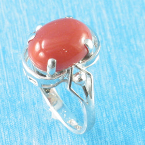 Genuine & Natural Red Coral 14K Solid White Gold Ring