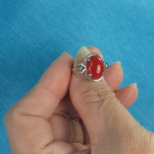 Load image into Gallery viewer, Genuine & Natural Red Coral 14K Solid White Gold Ring