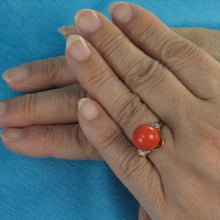 Load image into Gallery viewer, 14K Solid Yellow Gold Genuine & Natural Red Coral Diamond Ring