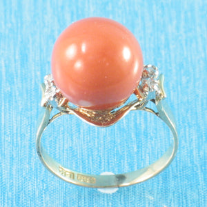 14K Solid Yellow Gold Genuine & Natural Red Coral Diamond Ring