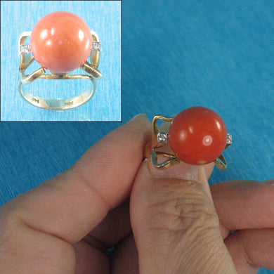 Genuine & Natural Red Coral Diamond 14K Solid Yellow Gold Ring