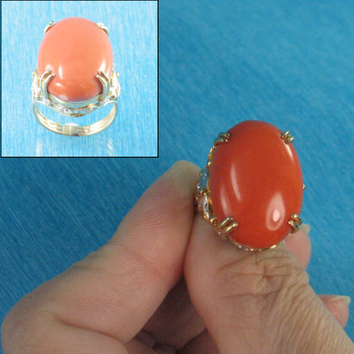 14K Solid Yellow Gold Genuine & Natural Pink Coral Diamond Ring