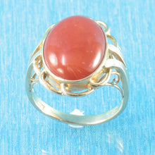 Load image into Gallery viewer, Cabochon Oval Genuine & Natural Red Coral 14K Solid Yellow Gold Ring