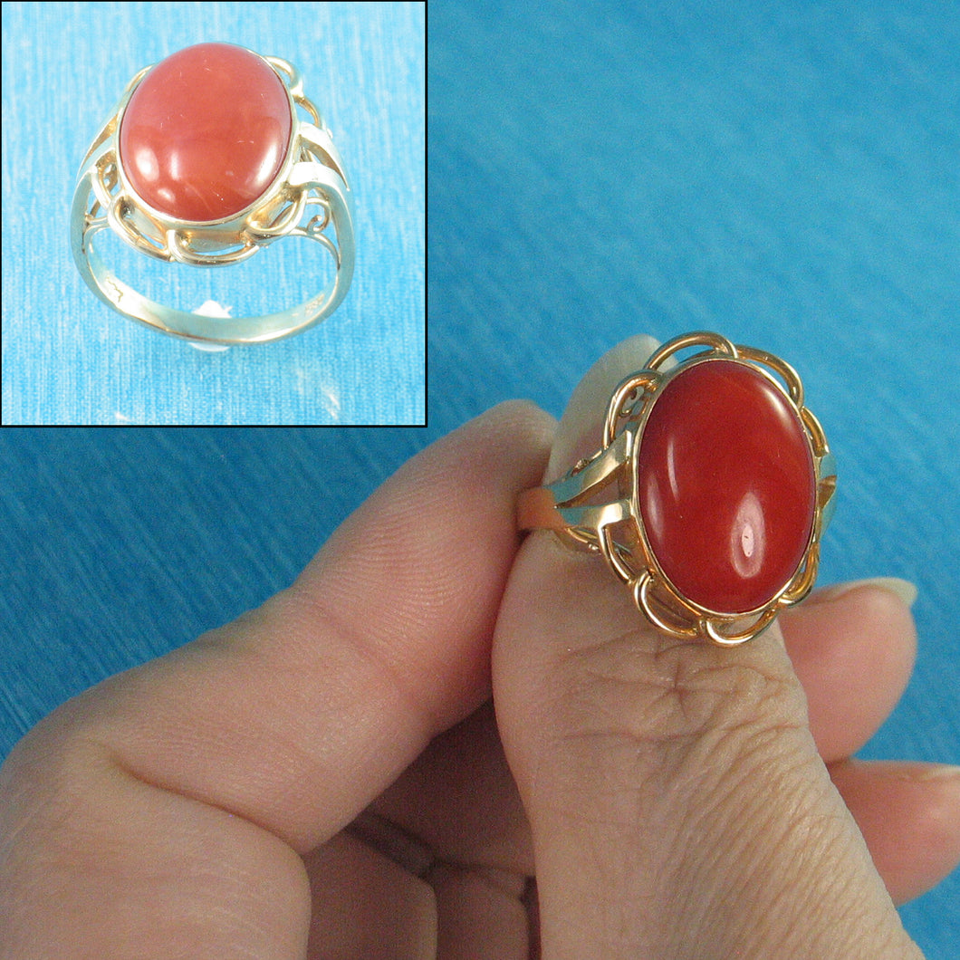 Cabochon Oval Genuine & Natural Red Coral 14K Solid Yellow Gold Ring