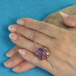 14k Solid Yellow Gold Genuine Oval Cut Amethyst Cocktail Ring