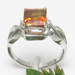 18k White Solid Gold Genuine Diamonds & 7x7mm Square Citrine Solitaire Ring
