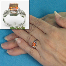 Load image into Gallery viewer, 18k White Solid Gold Genuine Diamonds & 7x7mm Square Citrine Solitaire Ring