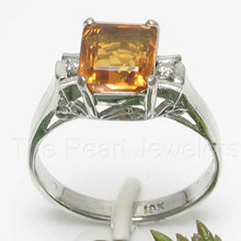 Load image into Gallery viewer, Baguette Genuine Citrine 18k White Solid Gold with Diamonds Solitaire Ring