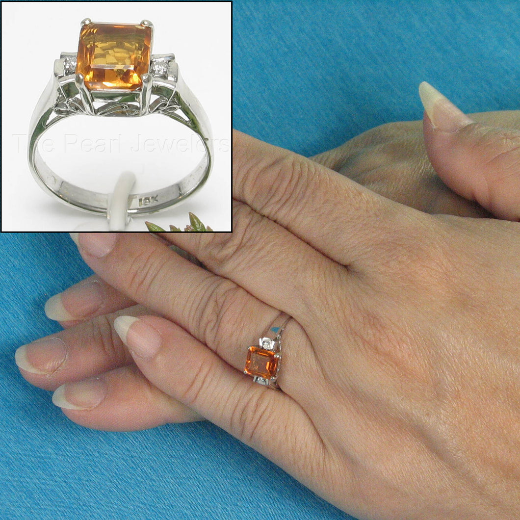 Baguette Genuine Citrine 18k White Solid Gold with Diamonds Solitaire Ring